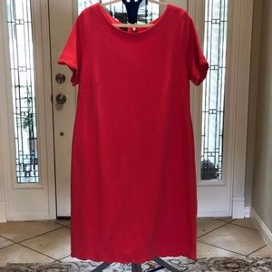 NWT Talbots Scalloped Knit Shift Dress in Coral